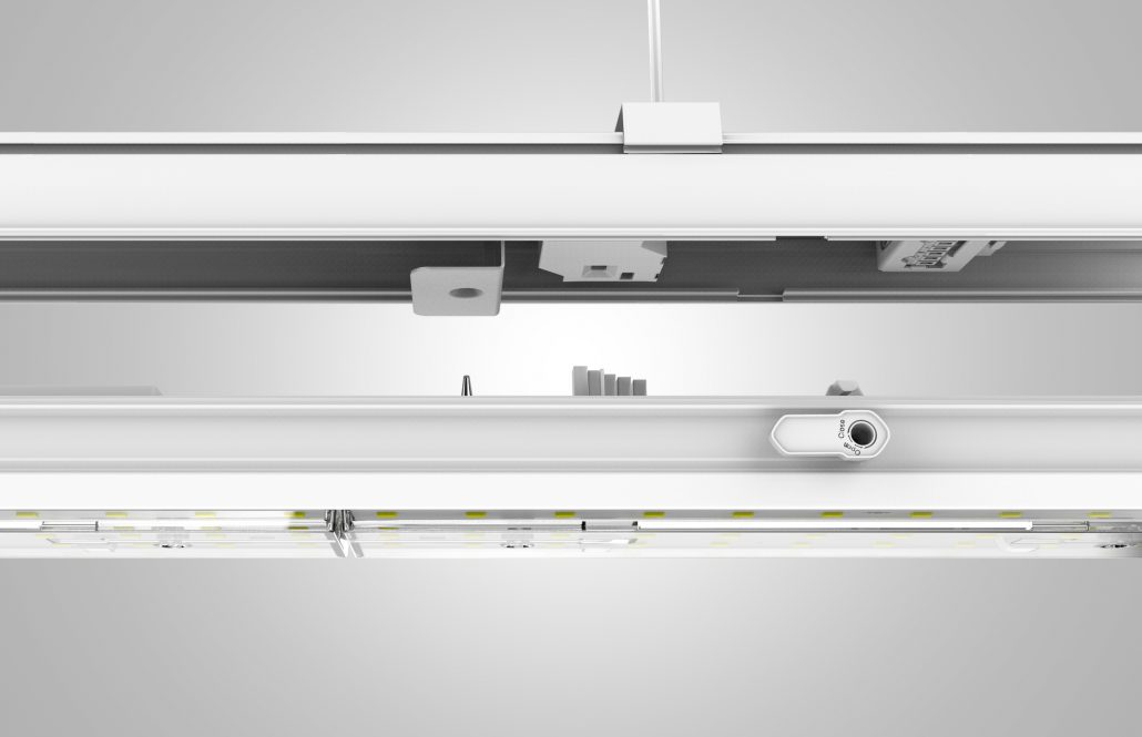Clap on system to connect Linear Trunking rail and Led Modular kit