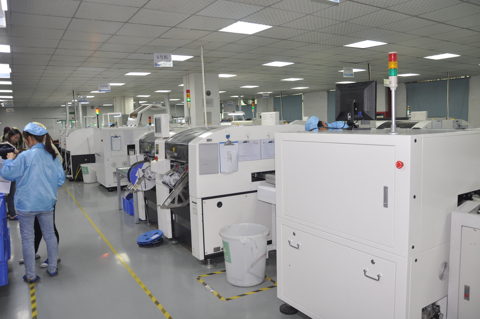 SMT workshop with high-speed pick-and-play SMT machines & others