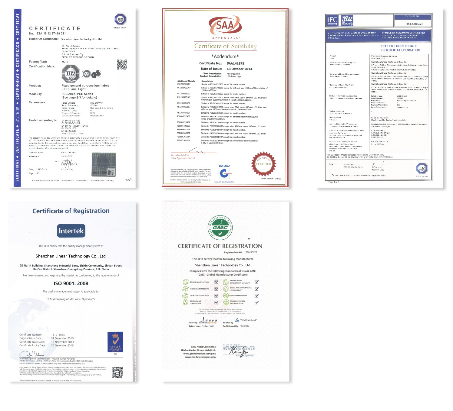 Factory & Product Certificates of Shenzhen Linear Technology Co.,LTD
