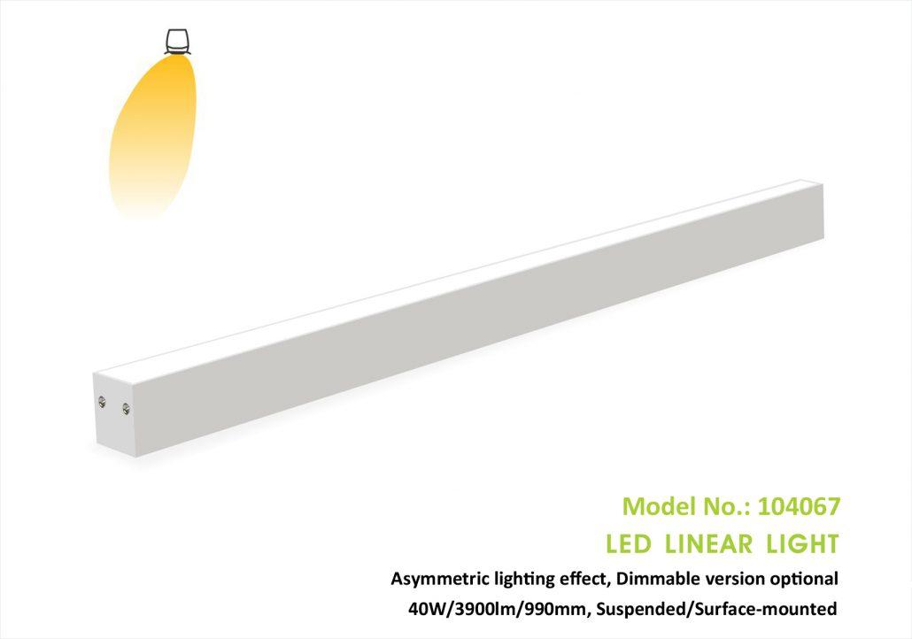 Asymmetric Led Linear light 104067P, 40W, 40x67mm