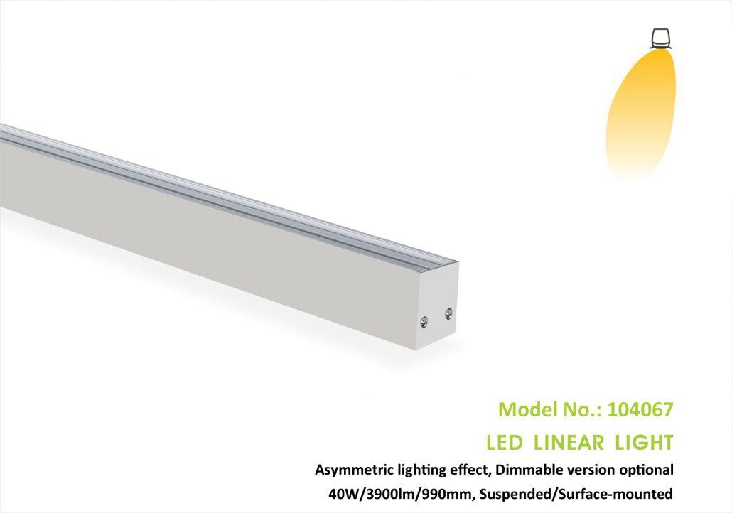 Asymmetric Led wall wash light 104067P,40w,40x67mm