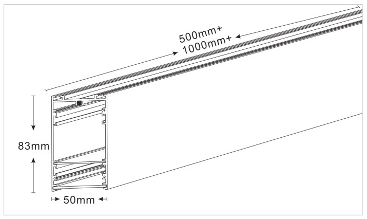 Drawing of configurable or connectable led linear light 105083
