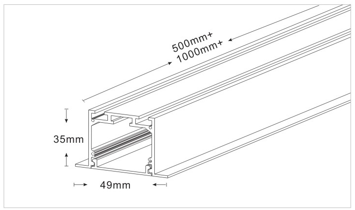 Drawing of 103535T, flush-mounted Led Linear Light with trim, 24W, 49x35mm