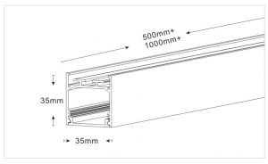 Drawing of Led Linear Light 24W, 35x35mm