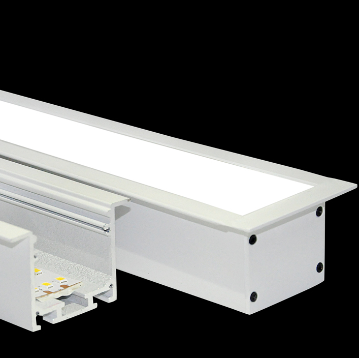 Recessed/Flush-mounted Led Linear Light with trim, 24W, 35x35mm