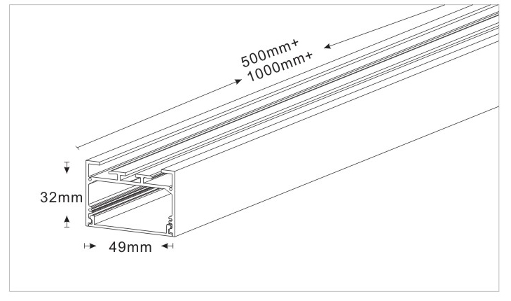 Drawing of Suspended/pendant or surface-mounted Led Linear Light 104932, 30W