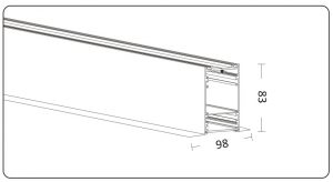 Dimension of recessed/flush-mounted Led Linear Light 105083T
